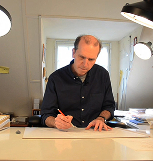 Three-time Caldecott Award winner David Wiesner at work in his studio.