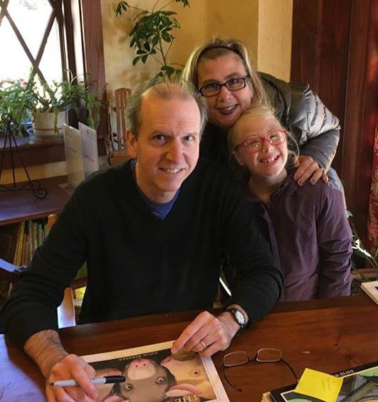 David Wiesner with Sharon Verbeten and her daughter at the Sheboygan Children's Book Festival