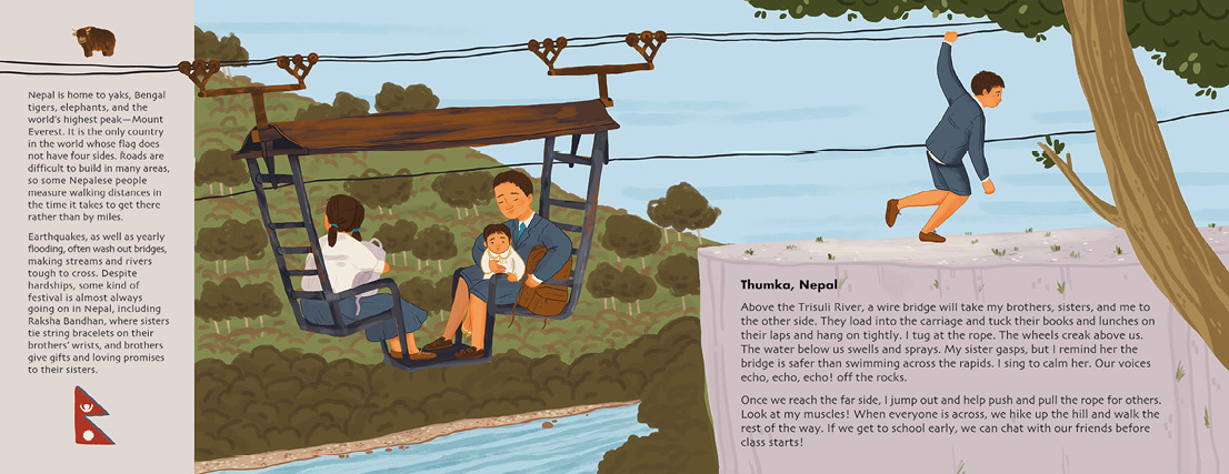 Spread about Nepal from the upcoming Adventures to School by Baptiste and Miranda Paul.