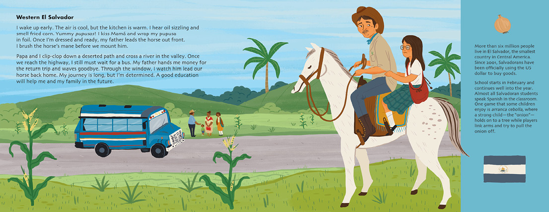 Spread about El Salvador from the upcoming Adventures to School by Baptiste and Miranda Paul.
