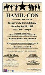 The library's promotional poster, which echoed the Broadway play Hamilton's look