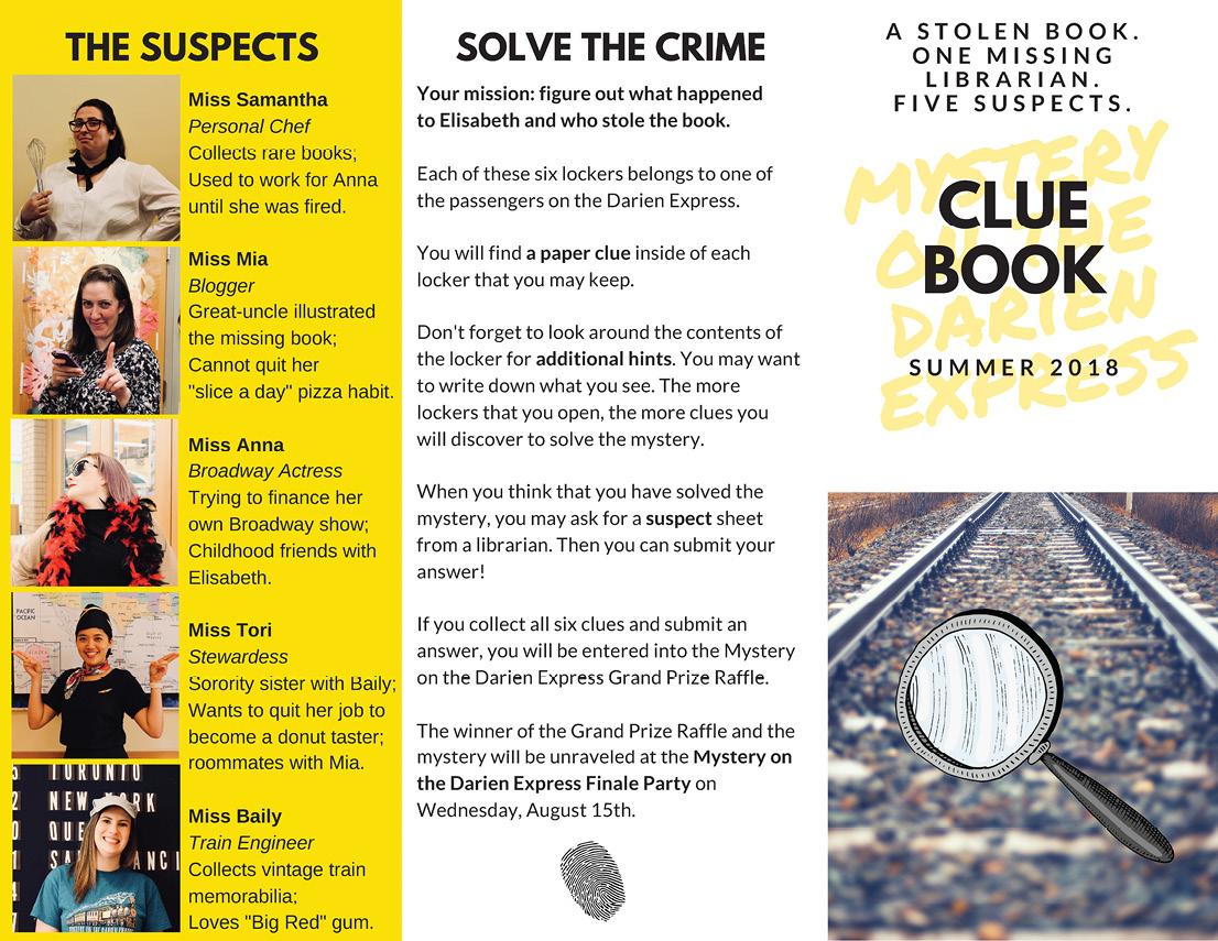 Summer 2018 Mystery of the Darien Express Clue Book.