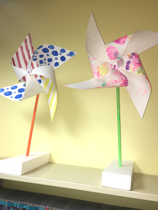 Pretty painted pinwheels.