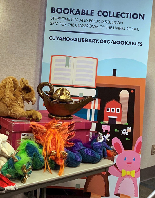 Display of CCPL's circulating puppets, toys, and kits.
