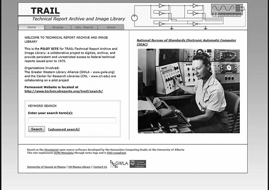 The pilot TRAIL website from 2009, created at the University of Hawaii-Manoa