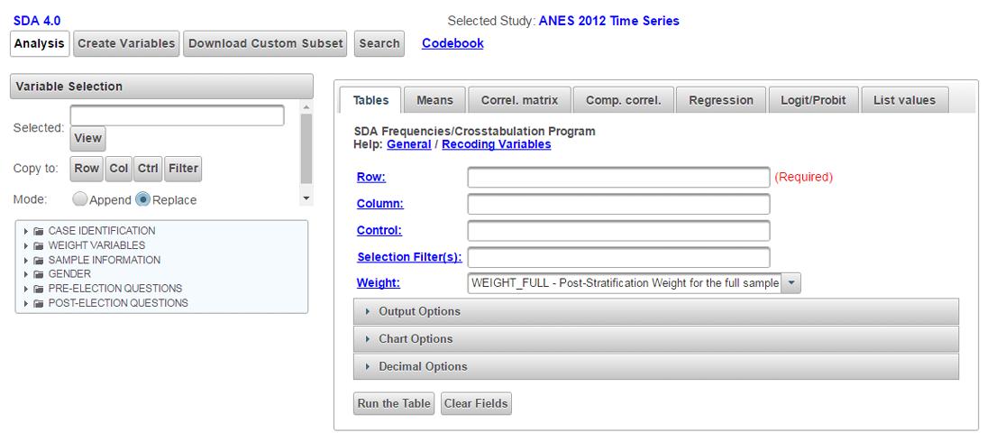 SDA tool for ANES 2012