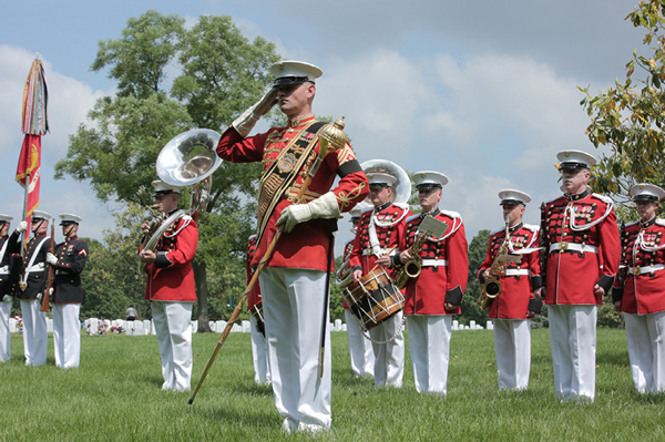 The Presidents Own Marine Corps Band performs funeral honors at Arlington National Cemetery, 2016