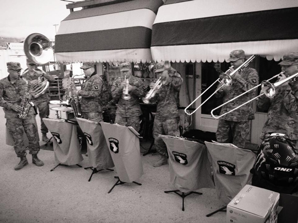 Members 101st Airborne Division Band perform for soldiers in Afghanistan