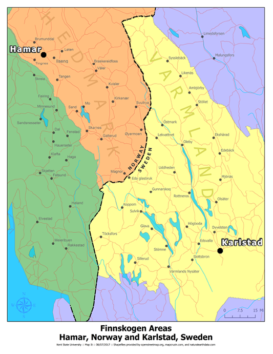 Figure 1. Finnskogen Areas: Hamar, Norway, and Karlstad, Sweden