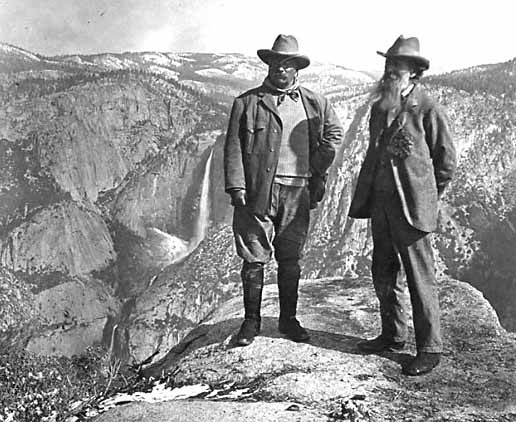 Photo 1. Theodore Roosevelt and John Muir on Glacier Point, Yosemite Valley, California—approx. 1906. Retrieved from the historic photos collection of the National Park Service Catalog Number: HPC-001830, Other NPS Image Numbers: USZ62-8672.