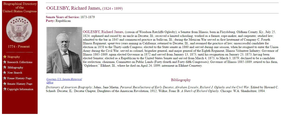 Biographical Directory of the United States Congress listing for Richard James Oglesby