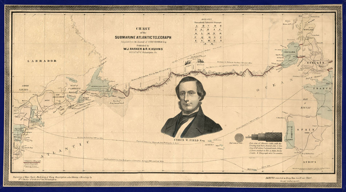 Figure 1. Chart of the much-hailed Atlantic Telegraph Wire linking Ireland and Newfoundland