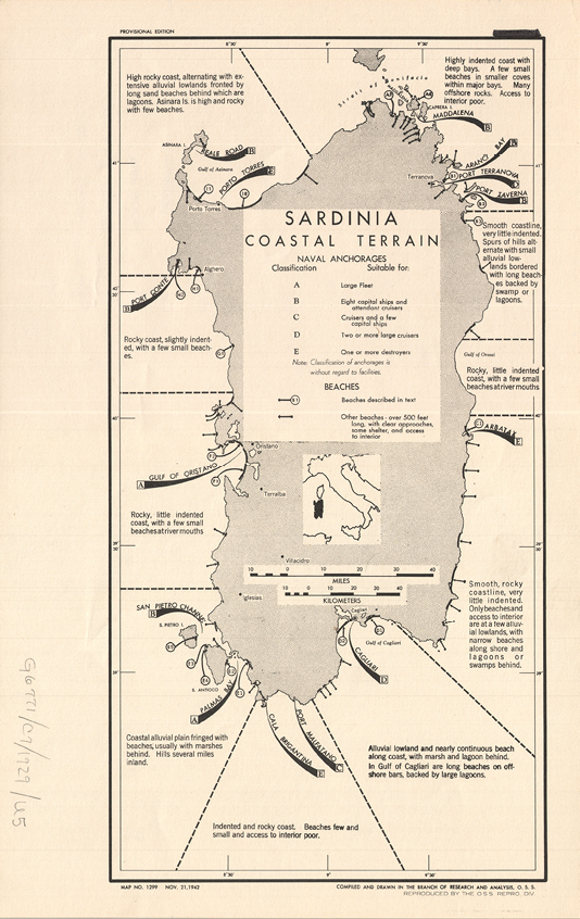 Image 1. Research and Analysis Branch. Sardinia: Costal Terrain. Scale 1:1,300.000. Washington, D.C. Office of Strategic Services, 1942.