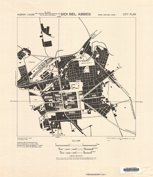 Image 3. Army Map Service. Sidi Bel Abbes, city plan. Scale 1:10,000. Washington, D.C. U.S. Army, 1943.