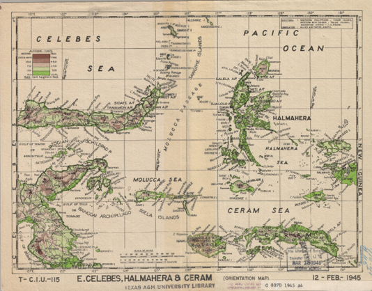 Image 5. E. Celebes, Halmahera, & Ceram. Scale 1:4,000,000. Allied Air Forces, 1945.