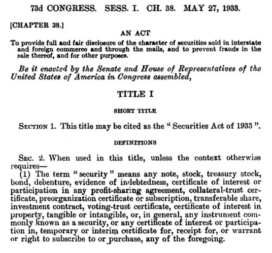 Figure 1. Securities Act of 1933, P.L. No. 73-22, § 48 Stat. 74 (1933)