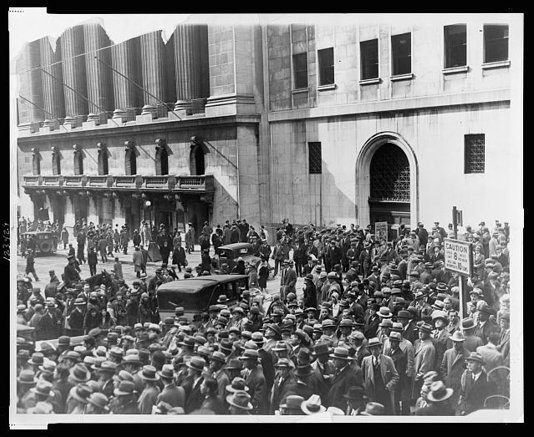 Figure 2. Crowd of people gather outside the New York Stock Exchange following the Crash of 1929. New York, 1929