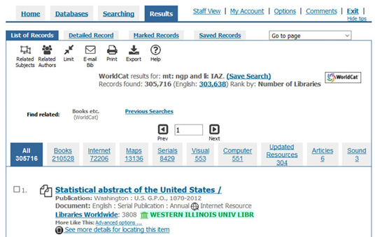 Figure 2. Image of the results of the advanced search in WorldCat for federal government publications in a library shown in figure 1.