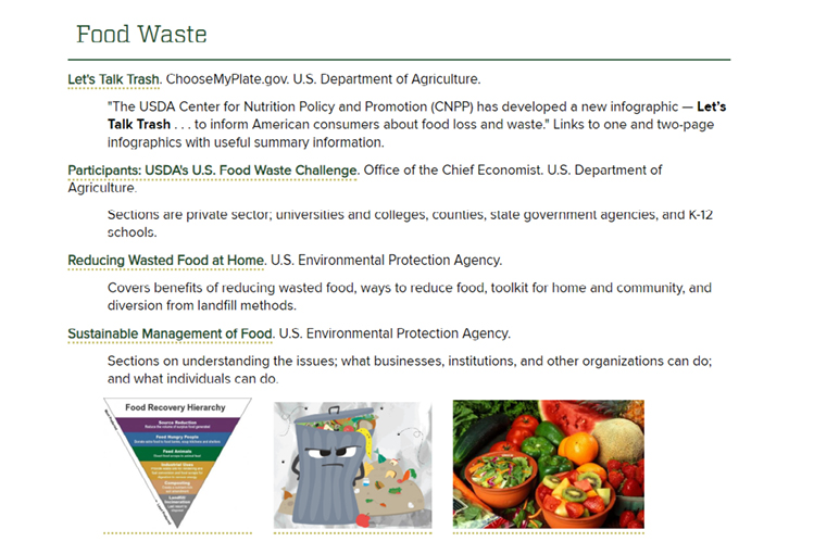 Image 1. Food Waste Section of Guide