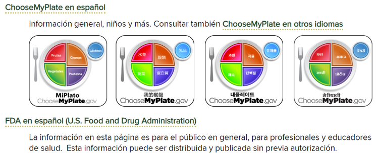 Image 2. ChooseMyPlate Section of Spanish Language Guide