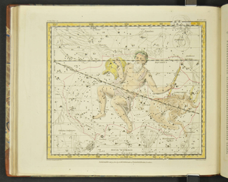 """Figure 1. Example of a star chart from the Alexander Jamieson's atlas which highlights Aquarius and Capricornus constellations. Source: Alexander Jamieson, """"Plate 21. Capricornus, Aquarius, Globus Aerostaticus, Pisces Austrinus, Microscopium, Corona Australis,"""" in A Celestial Atlas: Comprising a Systematic Display of the Heavens in a Series of Thirty Maps : Illustrated by Scientific Description of Their Contents and Accompanied by Catalogues of the Stars and Astronomical Exer cises (London: G. & W. B. Whittaker Ave Maria Lane, T. Cadell, Strand, and N. Hailes, Museum Piccadilly, 1822), accessed January 28, 2015, http://lhldigital.lindahall.org/cdm/compoundobject/collection/astro_atlas/id/2097."""