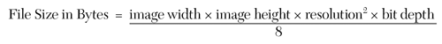 Figure 1. Formula for Calculating File Sizes of Uncompressed, Still Images