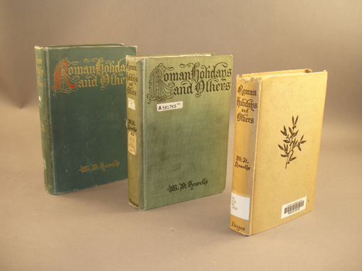 An example of binding variance. While the front-most book is a different edition, the rear two are identical except for their covers.