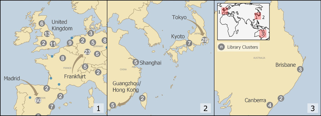 Figure 3. Map depicting clusters of libraries in areas beyond North America where nearest copies of items most often occurred. 1. Western Europe; 2. East Asia; 3. Australia.