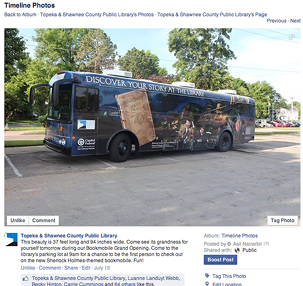 Figure 2.1. Topeka's Facebook Post about its new bookmobile