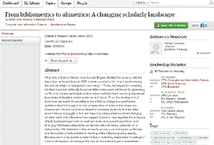 Figure 2.4. Mendeley readership metrics for one article, including number of readers, discipline, academic status, and country.