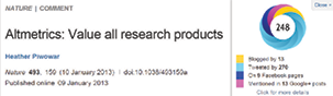 Figure 2.5. The Altmetric bookmarklet donut shows the summary altmetrics data for this Nature journal article.