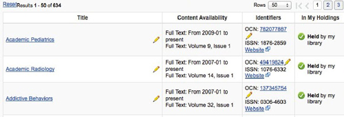 A package record in the OCLC World Cat Knowledge Base displays a list of titles and holdings and allows users to search and filter the contents.