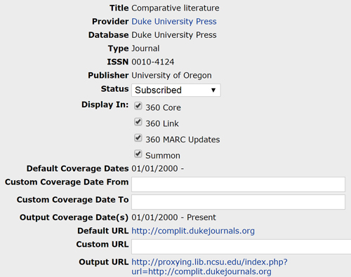 Administrative functions in the ProQuest Knowledgebase allow users to set the status of a holding, customize coverage dates and URLs, and control display options in public facing tools.