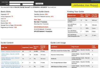 LibGuides usage tool that uses the Google Analytics API, University of Colorado Colorado Springs