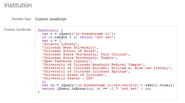 User-defined variable for institution custom dimension, Google Tag Manager, Colorado State University