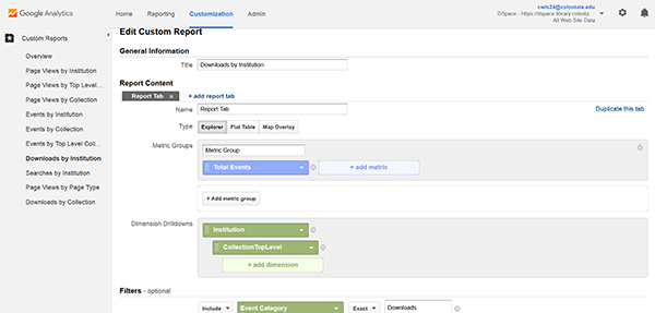Custom report configuration, Google Analytics, Colorado State University