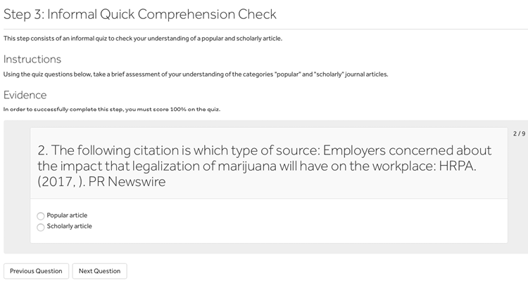 A screenshot of Penn State's badging platform showing a step using an auto-graded quiz.