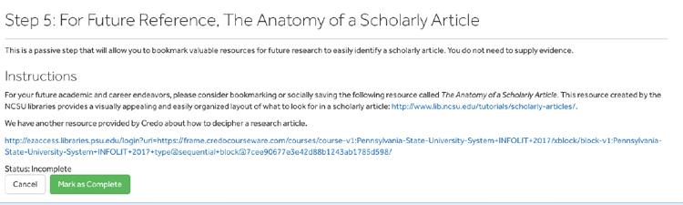 A screenshot of Penn State's badging platform showing a badge step that doesn't ask the learner to submit a response.