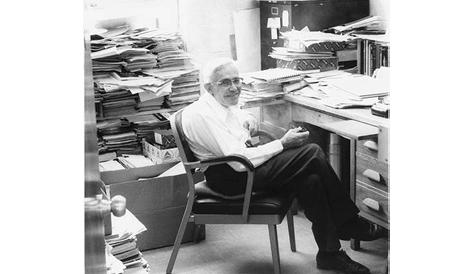 Professor Tombaugh working in his NMSU office