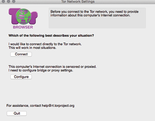 "Figure 2. The ""connect or configure"" window you'll see the first time you open the Tor Browser."