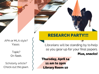 Design for the flyer and digital sign for the first Research Party