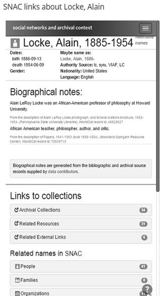 SNAC page for Alain Locke