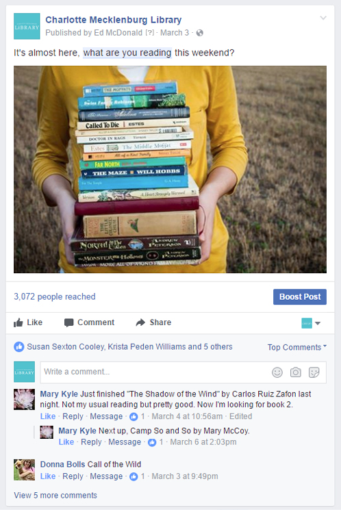 "Example of a popular ""what are you reading?"" Facebook post"