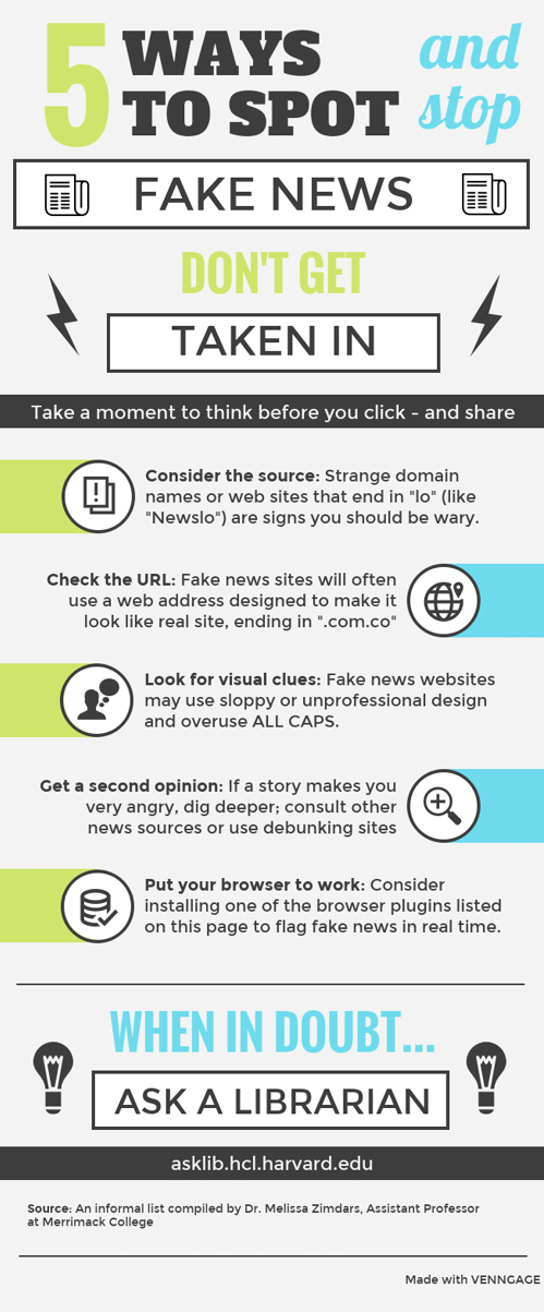 """Infographic from Harvard's """"Fake News, Misinformation, and Propaganda Guide"""""""