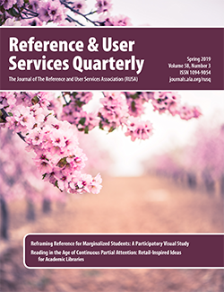 Cover: Reference & User Services Quarterly, Spring 2019